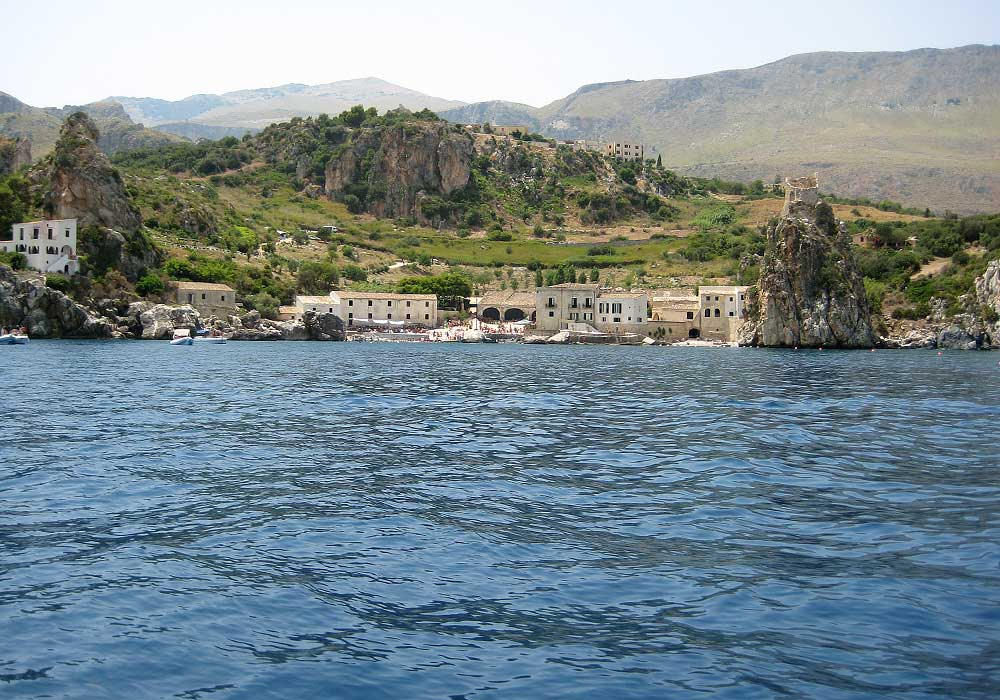 The Tonnara in Scopello seen from a boat