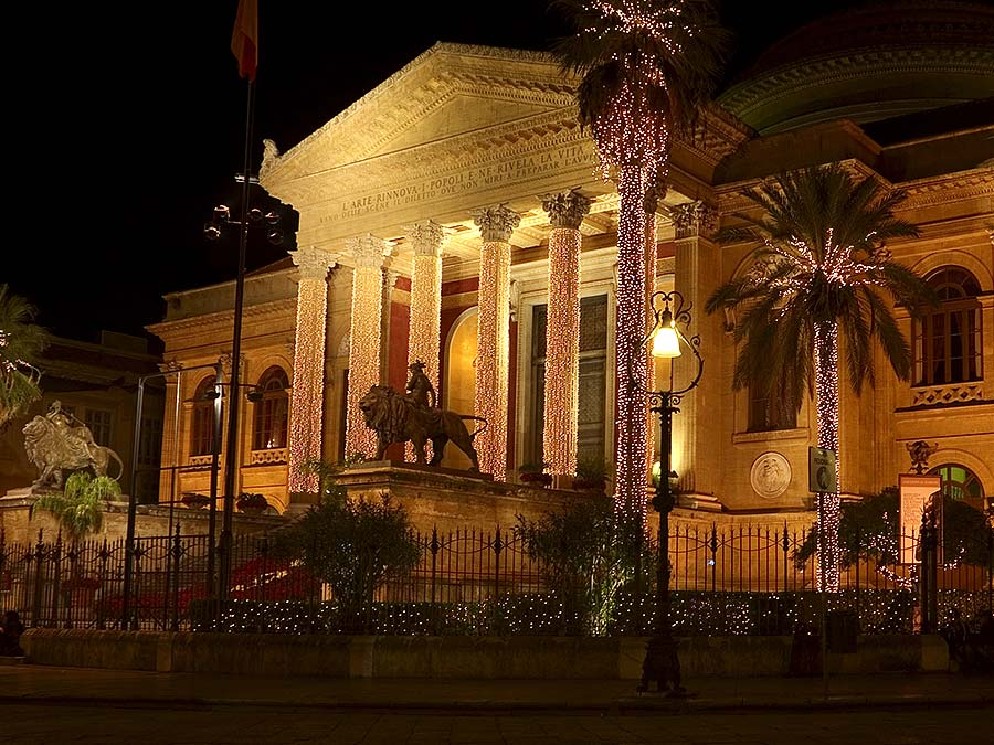 The Teatro Massimo in Palermo with Christmas decoration