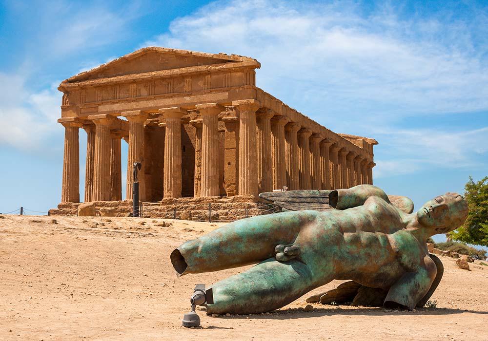 Een van de tempels in de Valle dei templi in Agrigento