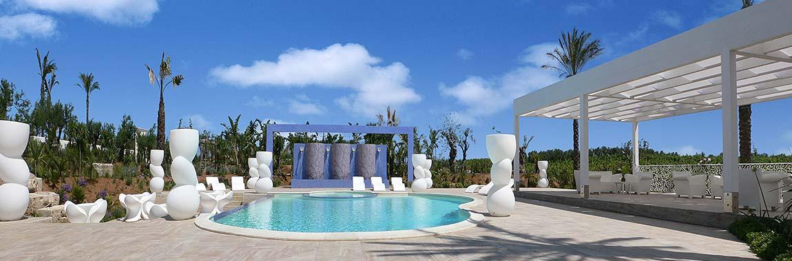 Het zwembad van de Borgo delle olive in Balestrate op Sicilië