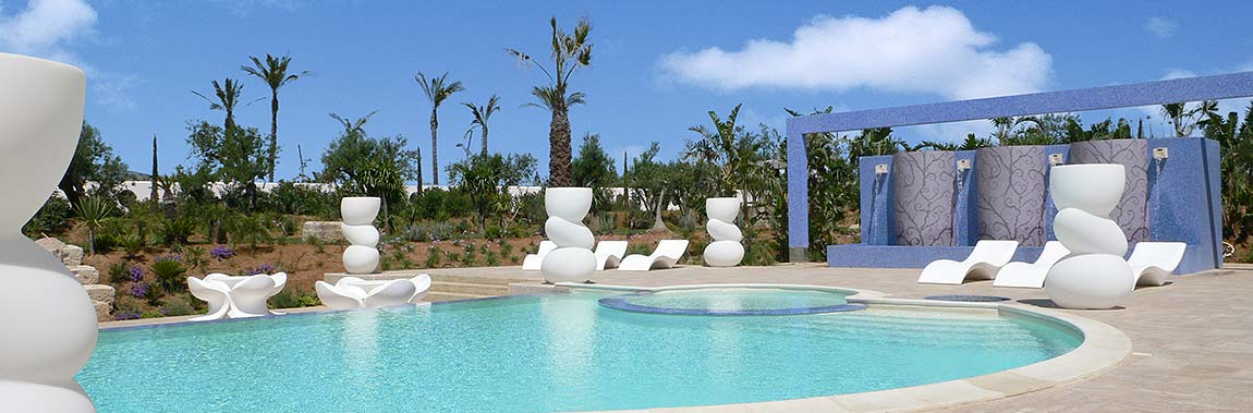 The swimming pool in the Borgo delle olive in Balestrate in Sicily