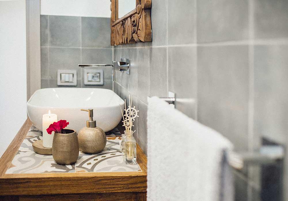 In een van de badkamers van Villa Stidda ri mari